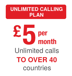 Unlimited Calling Plan: Unlimited calls to over 40 countries